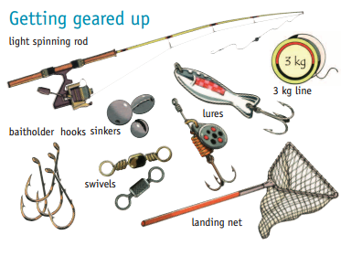 Standard redfin perch fishing equipment